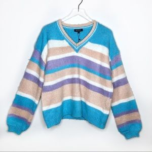 Beulah Fuzzy Color Block Bell Sleeve Sweater OS